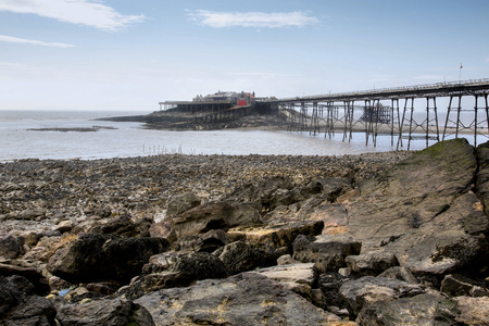brean: Birnbeck pier in Weston Super Mare,Somerset, UK in colourful HDR Stock Photo