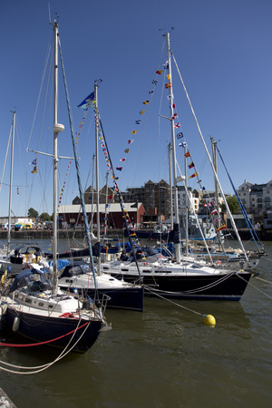 county somerset: BRISTOL, ENGLAND - JULY 19th 2015: Yachts at the Bristol harbourside festival on July 19th 2015 at Bristol, UK