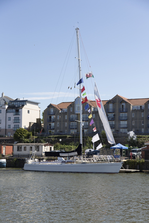 county somerset: BRISTOL, ENGLAND - JULY 19th 2015: An ocean racing yacht at the Bristol harbourside festival on July 19th2015 at Bristol, UK