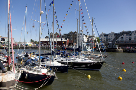 county somerset: BRISTOL, ENGLAND - JULY 19: Yachts at the Bristol harbourside festival on July 19th 2015 at Bristol, UK