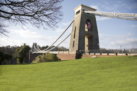Clifton suspension bridge in Bristol, UK built by Isambard Kingdom Brunel, the bridge spans the river Avon Stock Photo