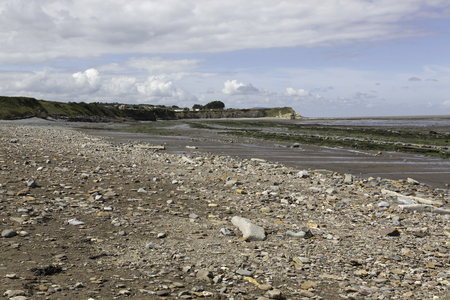 triassic: Doniford Bay consists of the Lower Jurassic Lias, and Triassic beds.The Jurassic lias at Doniford are the youngest of the lias at Somerset and marks the uppermost beds of the Lower lias. Stock Photo