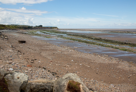 jurassic: Doniford Bay consists of the Lower Jurassic Lias, and Triassic beds.The Jurassic lias at Doniford are the youngest of the lias at Somerset and marks the uppermost beds of the Lower lias. Stock Photo