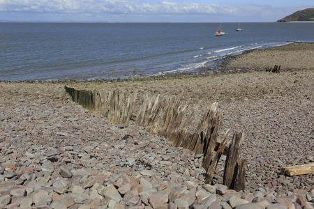 county somerset: View of Porlock weir beach, Porlock weir is a small harbour village in the county of Somerset in the UK