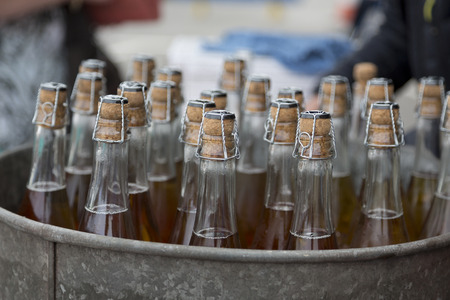 A selection of cider bottles in a bucket