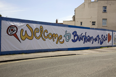 Burnham on Sea,Somerset, UK welcome banner welcoming visitors to the seaside town popular with holidaymakers