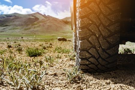 草原地形で車のホイールのクローズ アップ写真 写真素材