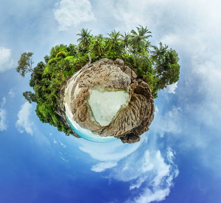 small world: Little planet panorama on white sandy beach in paradise sea. Phuket island Stock Photo