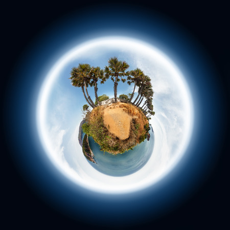 green little planet earth: Little planet with palm trees, sea and tropical islands Stock Photo