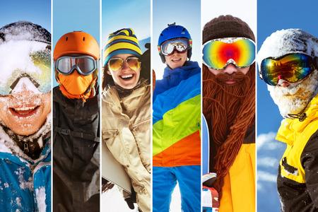 Photo collage ski snowboarder skier people