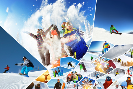 Big photo collage ski snowboarding winter sports