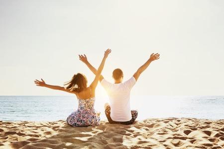 copyspace: Happy couple beach holidays concept