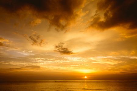 Beautiful sea sunset with deep cloudy sky