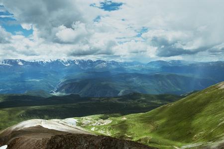 Altai mountains landscape from high altitude viewpoint. Aktru ridge
