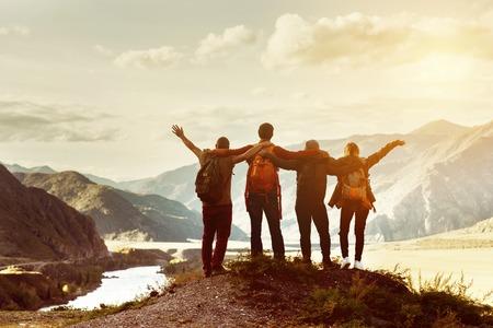 Happy friends travel expedition concept Banco de Imagens