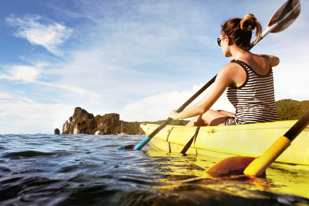 Travel sea kayaking canoeing concept