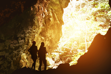 Two girls silhouettes travel adventure concept Stock Photo