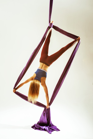 Aerial acrobat rectangle element hanged fabric