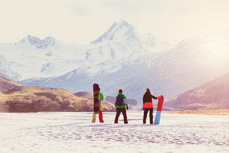 Ski concept friends snowboarders mountains