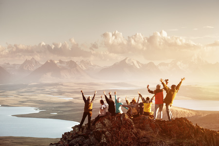 Big group of people success mountain top Stockfoto - 99123569