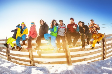 Ski winter vacations concept group friends