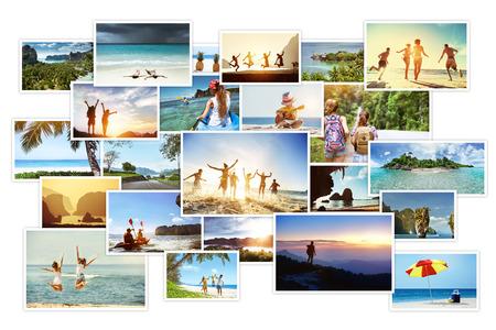 Collage fotografico di immagini tropicali con paesaggi e popoli people