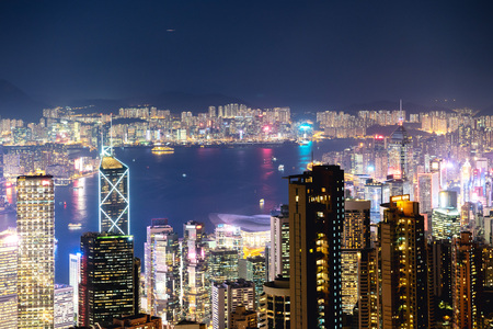 Hong Kong at night time. Aerial view from Victoria peak