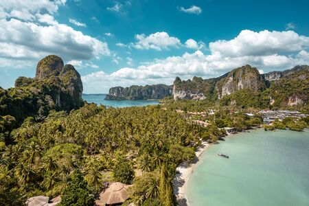 Aerial view on Railay beach from viewpoint. Krabi province, Thailand