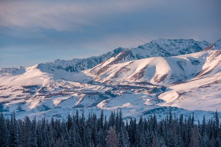 Beautiful winter landscape with snow and morning light in mountains