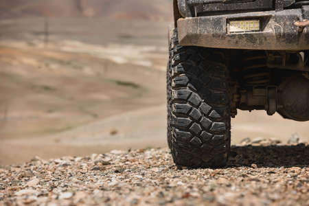 Close up photo of offroad car wheel