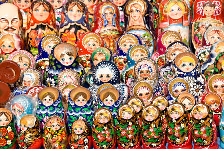 russian nesting dolls: Colorful Russian nesting dolls