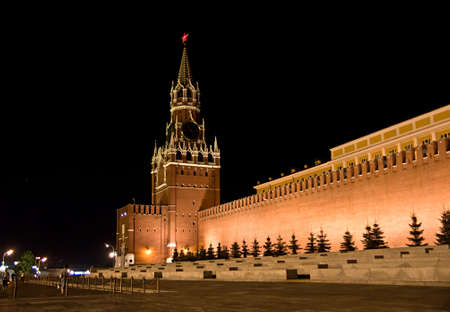 Red Square, Kremlin and St. Basil Cathedral at night, Moscow, Russia photo