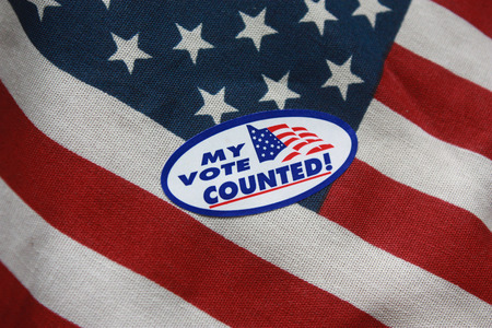 counted: My Vote Counted Sticker on USA Flag
