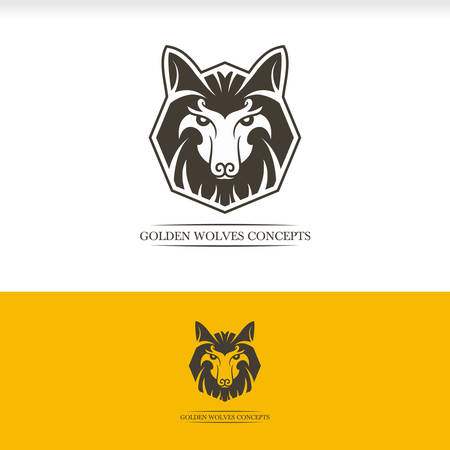 Golden Wolves head wolf emblem