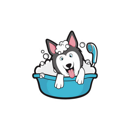 Dog take a bath wash shower Cartoon Mascot Vektorové ilustrace