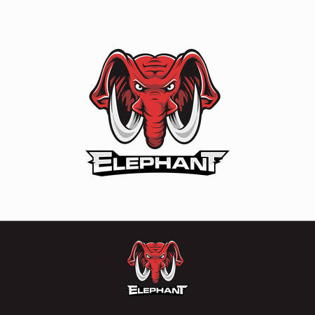 Elephant head Red Angry mascot Sport logo 向量圖像