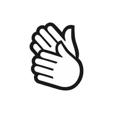 Mano aplaude icono blanco negro Ilustración de vector
