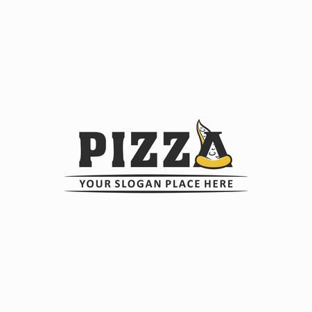 Pizza text art logo vektor Logo