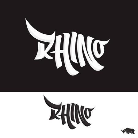 Rhino Lettering Typo Text logo Illustration