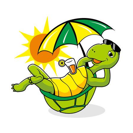 Faule Schildkröte Sommerurlaub Maskottchen Cartoon Vektorgrafik