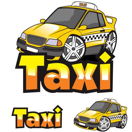 Logo de vecteur de dessin animé de voiture de taxi Logo
