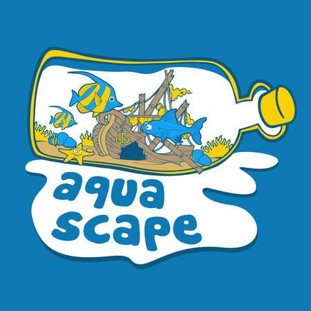 Aqua Scape Bottle Shipwreck Sea Vectores