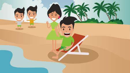 Man Girl Happy Beach Illustrations