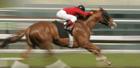 copyrighted: Slow shutter speed rendering of one racing horse and jockey. NOTE: Image was altered to remove ALL copyrighted material.