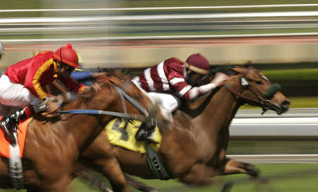 enhance: Close-up of Jockeys in colorful silks racing thoroughbreds. Shot at slow shutter speed to enhance motion effect.