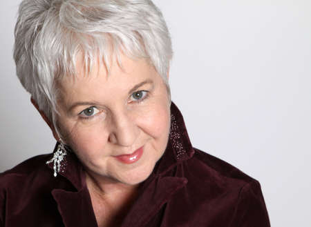 Close Up Attractive Senior Woman with Silver Hair Stockfoto
