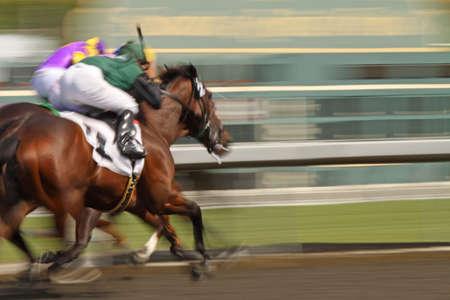 horse races: Dos jinetes que ejecutan cuello y cuello hacia la meta. Gran cantidad de espacio de copia sobre el lado derecho de la imagen.