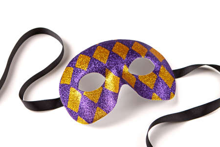mardi gras mask: Purple and Gold Harlequin Venetian Mask with Black Ribbon on White with Soft Shadow