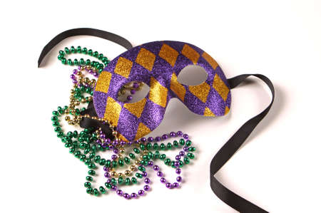 mystique: Purple and Gold Venetian Mask with Beads on White with Soft Shadow