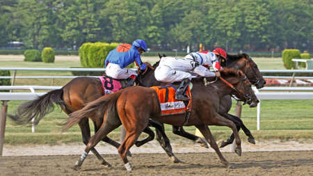 ELMONT, NY - JUN 5: Drosselmeyer, with Mike Smith up, runs down Game on Dude and First Dude en route to winning the 2010 Belmont Stakes at Belmont Park on Jun 5, 2010 in Elmont, NY.